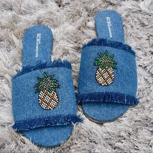 (BCBG) Pineapple Fringe Slides